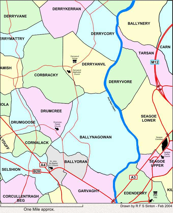 Townlands to the north of Portadown, Co. Armagh